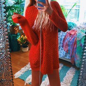 Sweaters - blood orange red woven ezbe sweater